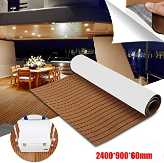 YCSPORT 94.5 inches× 35.4 inches EVA Faux Teak Non-Slip Marine Sheet Boat Yacht Flooring Synthetic Mat Decking Pad
