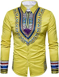 Enjoybuy Mens Dashiki Casual Button Down Shirts Tribal Slim Fit African Ethnic Printed Long Sleeve Shirt