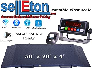 Selleton Portable Floor Scale with Printer to Weigh Drum/Vet/Livestock / 2000 Capacity