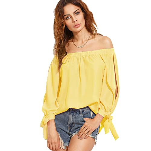 1808b788eb4adc SheIn Women s Off Shoulder Slit Sleeve Tie Cuff Blouse Top