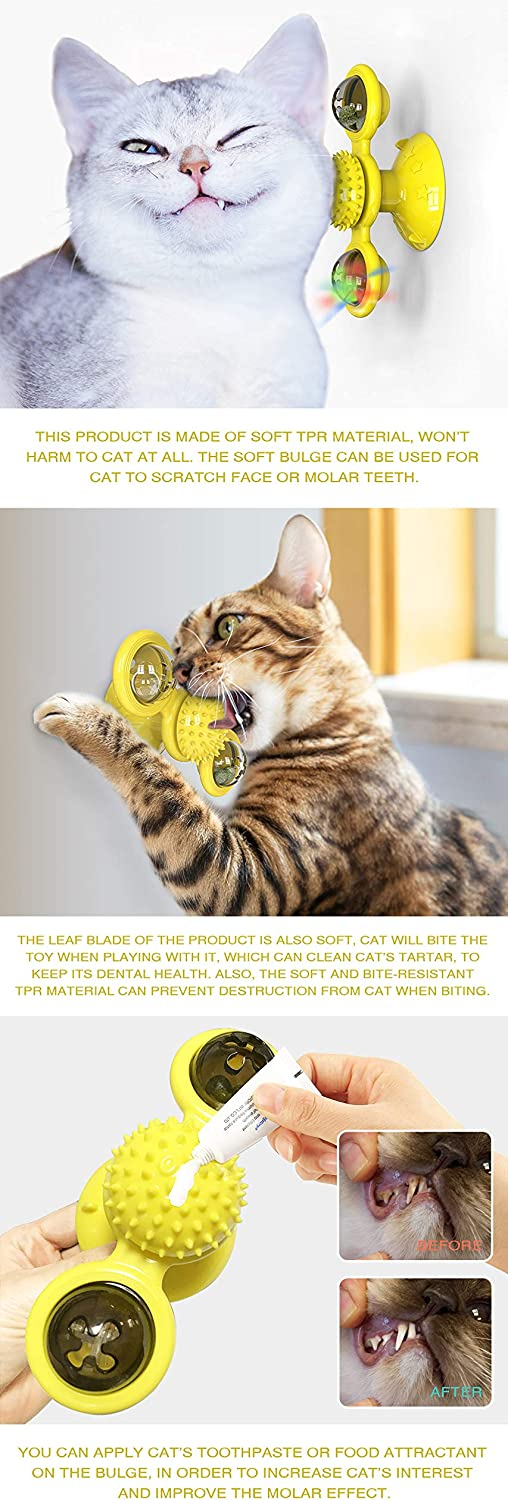 Libeder Windmill Cat Toy Interactive Cat Toys for Indoor Cats with Suction Cup Portable Turntable Teasing Scratching Pet Toys Cat Ball Kitten Toy Yellow