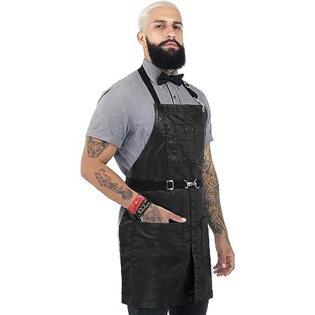 Black Twill Split Bartender Barber Shop Barista Leather Straps Apron Chef Tattoo No-Tie