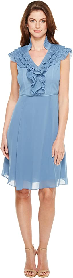 Chiffon Fit and Flare Dress with Pleated Ruffle Collar V-Neckline