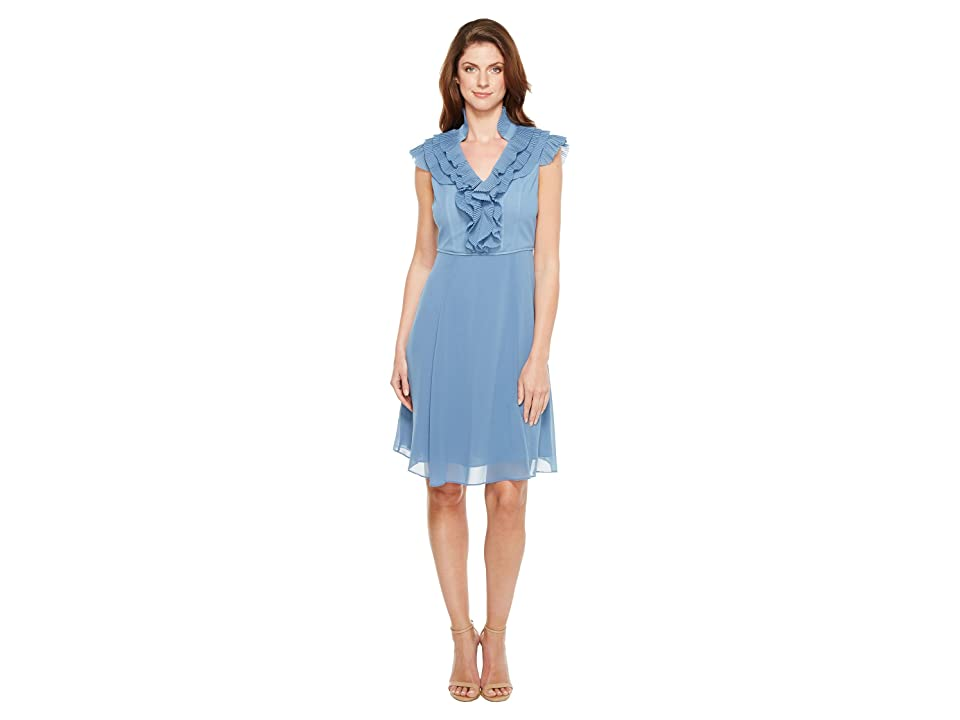 Adrianna Papell Chiffon Fit and Flare Dress with Pleated Ruffle Collar V-Neckline (Steel Blue) Women