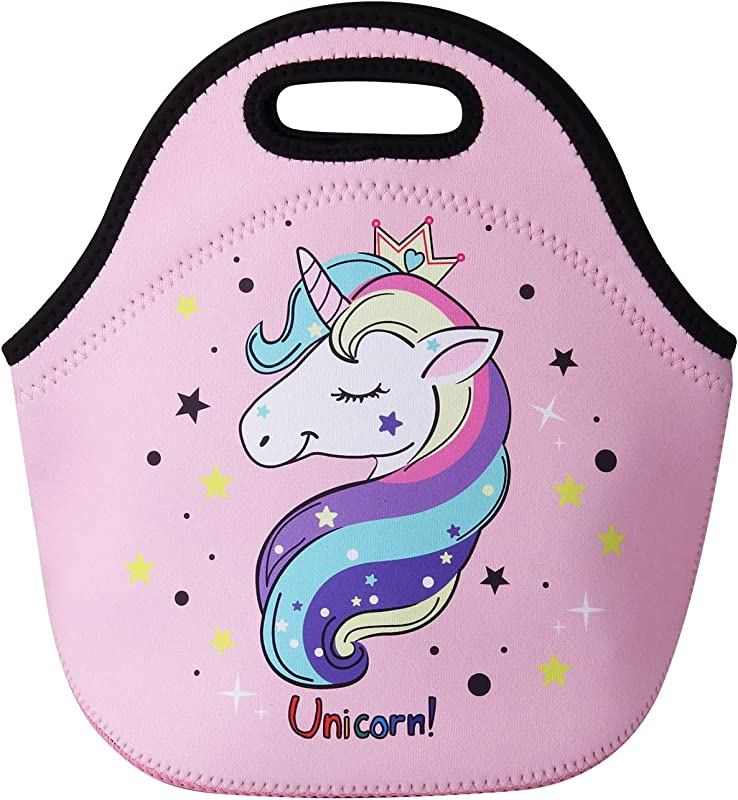 Cute Unicorn Lunch Bag For Kids Waterproof Insulated Neoprene Lunch Tote With Zipper For School Work Outdoor