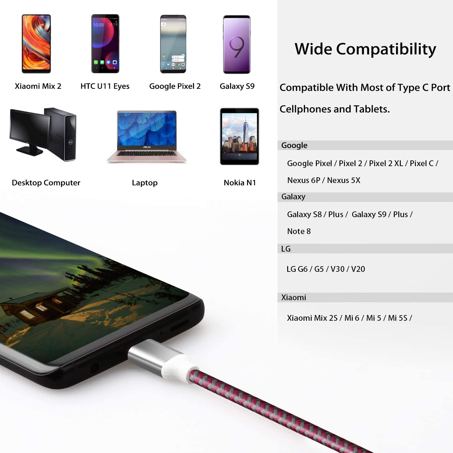 USB Type C Cable 10ft, Fasgear 3 Pack Long USB to USB C Cable Nylon Braided Fast Charging Compatible with Galaxy Note 8 9 S8/S9/S10/S10+, LG V20/G6 and More (Blue/Black/Rose)
