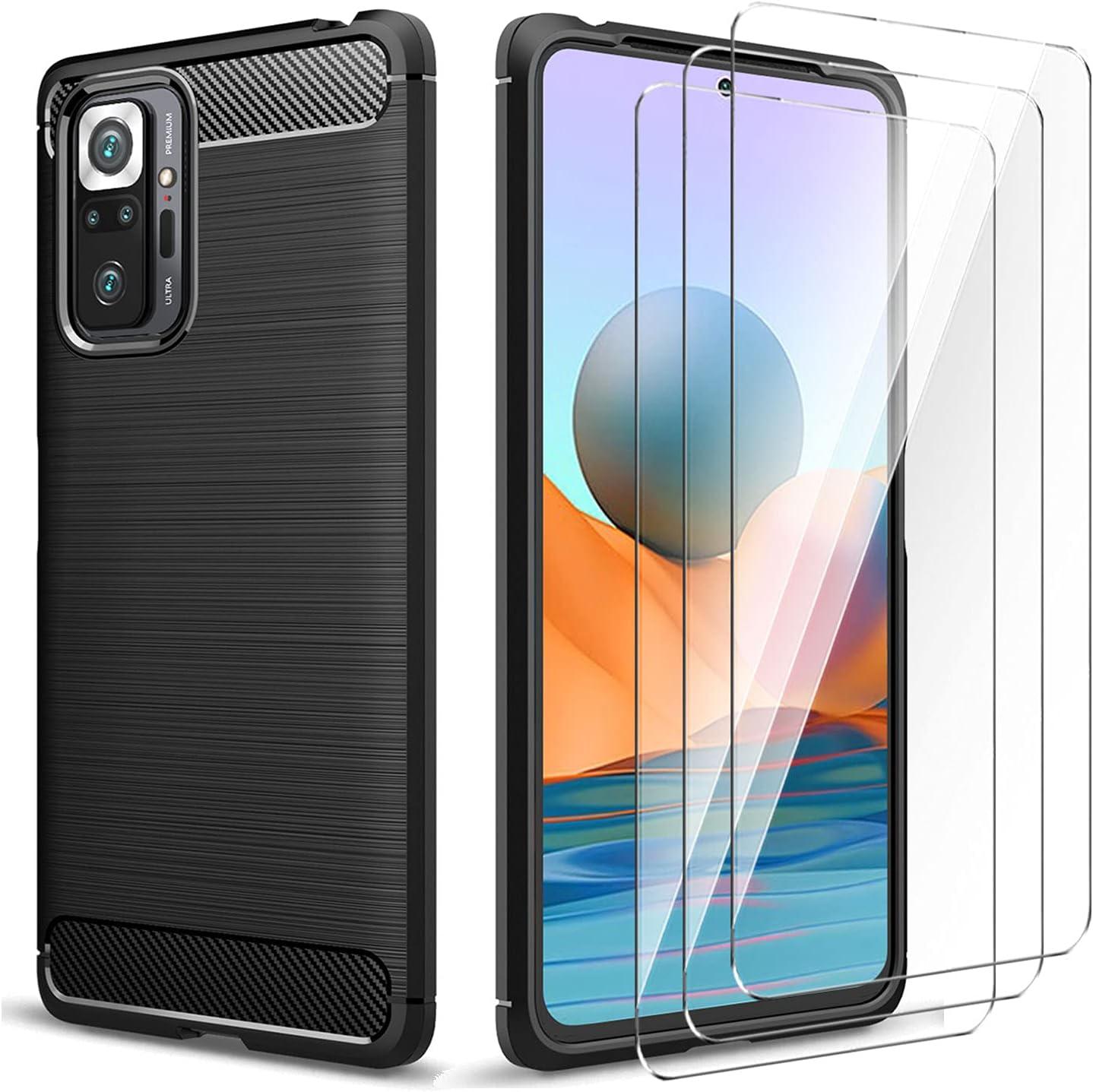 CQiuLi Funda para Xiaomi Redmi Note 10 Pro y 3 Pack Vidrio Templado Protector de Pantalla, Carcasa Cepillada TPU Protector Funda Móvil Ultrafina Cover Case - Negro