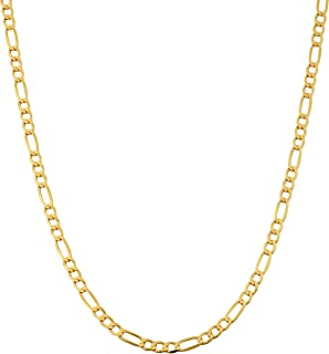 10k Yellow Gold 3.3 mm High Polish Concave Figaro Link Chain Necklace