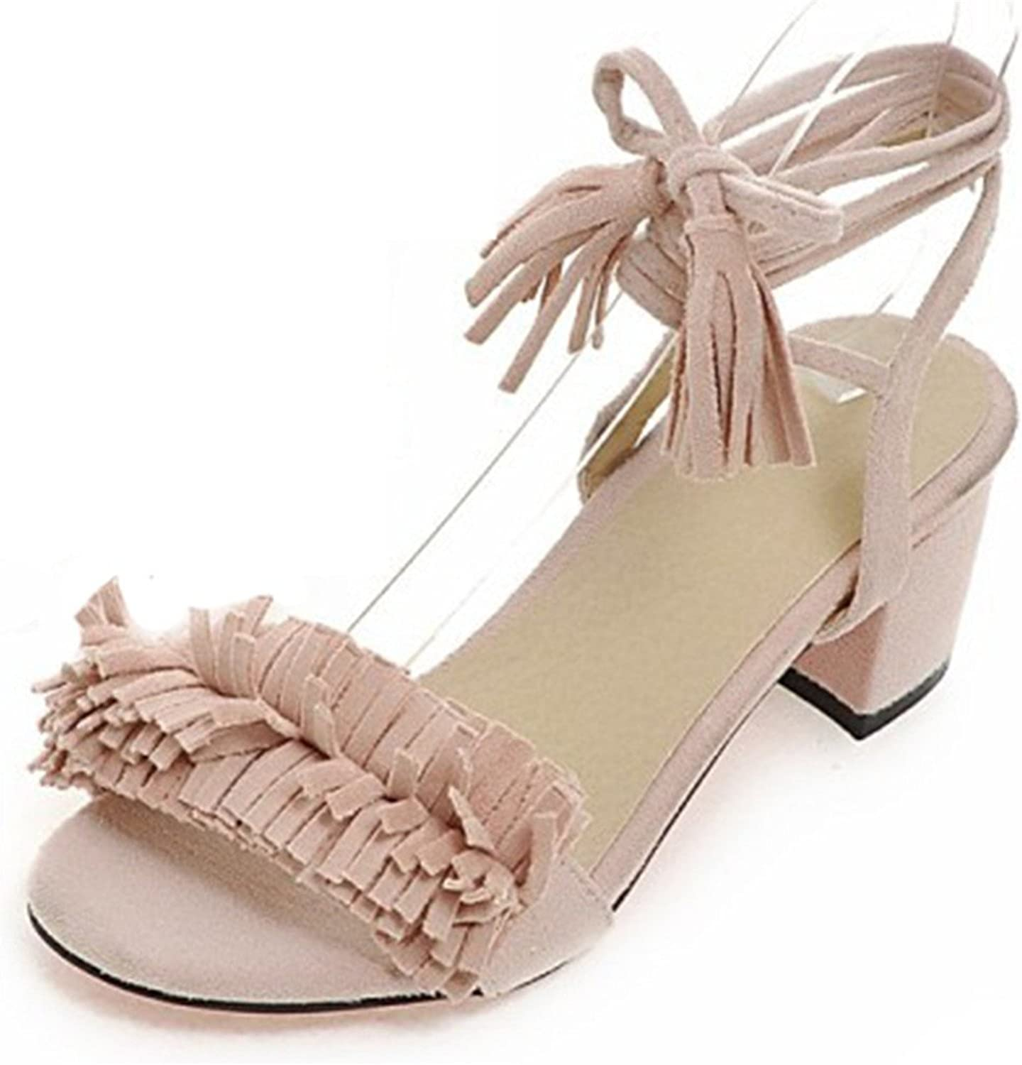 Davikey Women's Bohemian Fringe Open Toe Chunky Mid Heel Strappy Lace-up Frosted Sandals