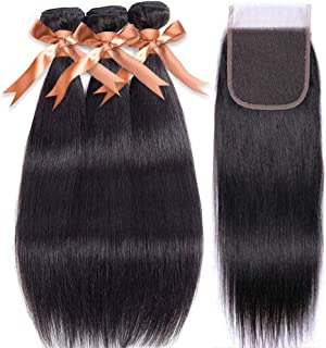 Brazilian Straight Human Hair Bundles with Closure(14 16 18+12 Inch),100% Unprocessed Virgin Human Hair with Lace Closure 4×4 Free Part Natural Black