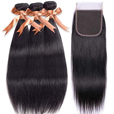Brazilian Straight Human Hair Bundles with Clos...