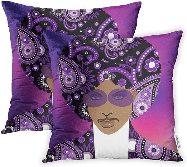 Emvency 一套 2 个抱枕套印花聚酯拉链 4月24日音乐艺术家王子枕套的说明性社论图 18x18 方形装饰家用床沙发