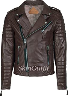SKINOUTFIT Men's Leather Jackets Motorcycle Biker Genuine Lambskin Leather Jacket Brown
