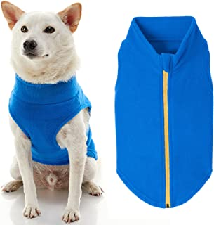 Gooby Zip Up Fleece Dog Sweater - Blue, 3X-Large - Warm Pullover Fleece Step-in Dog Jacket Without Ring Leash - Winter Sma...