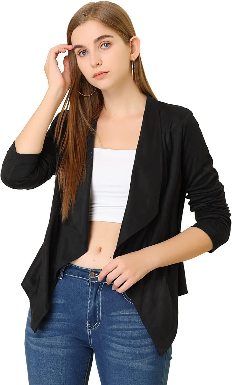 Allegra K Women's Moto Faux Suede Jacket Lightweight Open Front Lapel Draped Outwear Cardigan
