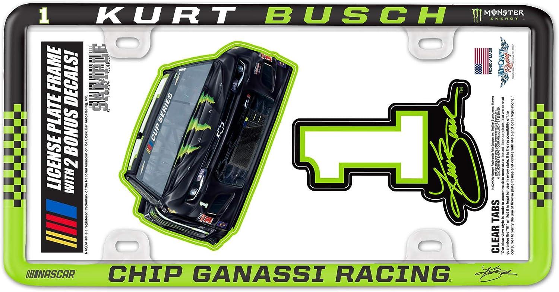 WinCraft NASCAR Chip Ganassi Racing Kurt Busch NASCAR Kurt Busch #1 License Plate Thin Frame - Plastic, Multi, na (F0492420)