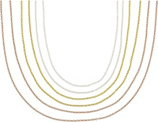 JTV-18K Yellow, Rose Gold & Rhodium Over Sterling Silver Rolo Chain Necklace Set Of 6
