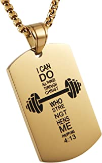 HZMAN Fitness Dumbbell Cross Dog Tag Pendant, I CAN DO All Things Strength Bible Verse Stainless Steel Sports Necklace