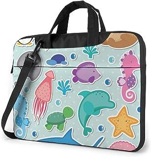 """Sea Animals Clip Art Laptop Bag Protective Case Computer Messenger Briefcase Women Men 13"""""""