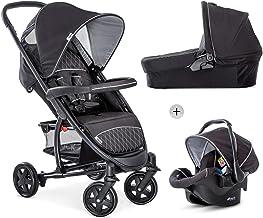 Hauck Malibu 4 Trio Set 3in1 Kombi Kinderwagen bis 18 kg  Babyliegeschale Gruppe 0  Babywanne mit Matratze, Sportwagen mit Liegeposition ab Geburt, leicht, klein faltbar, schwarz silber