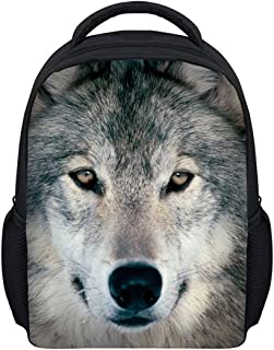 Showcool Unisex Backpack 3D Printed Wolf dog Pattern Cool Baby Toddler Schoolbag Shoulder zipper Book Bag
