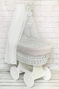 Wicker Wheel Moses Basket Baby Full DIMPLE Bedding Set Canopy White Chevron Grey