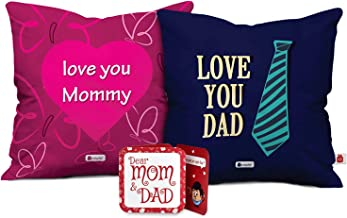 Indigifts Mom Dad Love You Mommy & Love You Dad Multi Cushion Cover 12x12 inch with Filler Set of 2 - Gift for Mother's Day, Mom-Mumma-Dad-Papa-Parents-Birthday, Anniversary