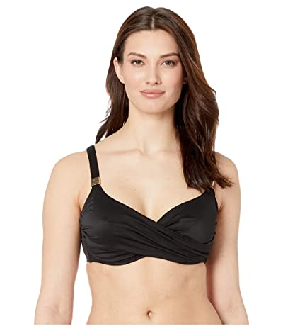 Miraclesuit D-DDD Cup Solid Surplice Bra Top (Black) Women