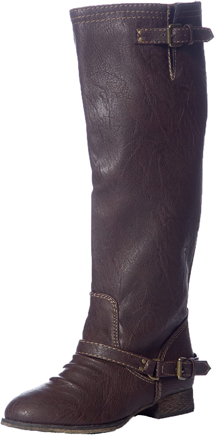Breckelles Women's OUTLAW-81 Contrast Zipper Casual Riding Boots