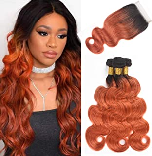 Brazilian Body Wave Human Hair Ombre Bundles With Closure, 2 Tone Virgin Brazilian Hair 3 Bundles With Closure 4x4 Lace Closure Hand Made (16 18 20 + 14, T1B/350)