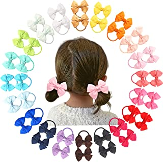 """40pcs 2.5"""" Boutique Hair Bows Elastic Ties Pigtail Holders Baby Girls Kids Children Rubber Band Ribbon Hair bands"""