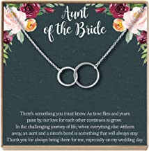 Aunt of The Bride Gift Necklace: Aunt Wedding, Bridal Shower, Rehearsal Dinner, 2 Asymmetrical Circles