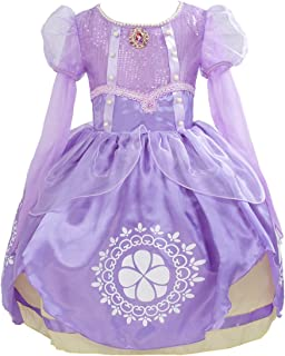 Little Girls Fancy Knee Length Long Sleeve Dresses Princess Sofia Costumes Birthday Party Dress up