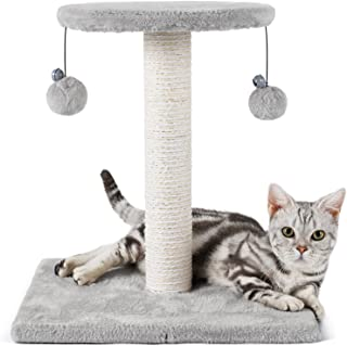 rabbitgoo Cat Scratching Post, 43cm Cat Tree Small Cat Tower with Sisal & Plush Perch, Cat Scratcher with Hanging Toys, Ca...