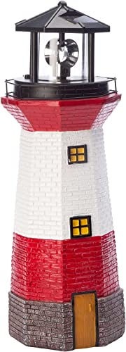 discount Miles Kimball Red Solar Lighthouse by Maple Lane sale CreationsTM- Rotating LED Light wholesale Outdoor Décor - Lawn and Garden Resin Lighthouse sale