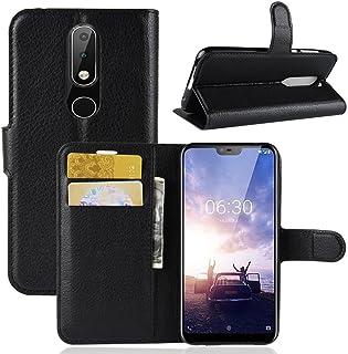 KP TECHNOLOGY Nokia X6 fodral, Nokia X6 läderfodral, Nokia X6 bok flip läder plånboksfodral med kortfack för Nokia X6 2018...