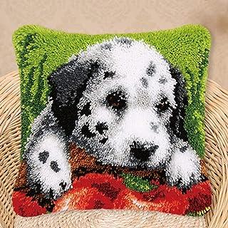 Latch Hook Kit DIY Crochet Fil Kits Beautiful Chien Motif Broderie Couverture Couvercle Crotche Croix Artisanat pour Adult...