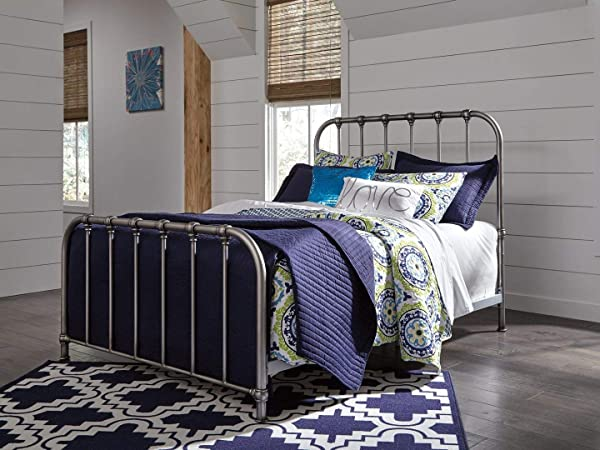 Ashley Furniture Signature Design Nashburg Metal Bed Complete Headboard And Footboard With Rails Twin Bronze Finish