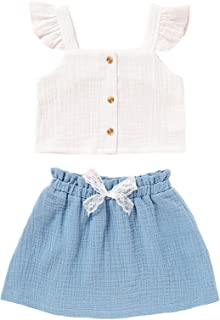 Baby Girl 2PCS Set Summer Outfits Sleeveless Ruffle Tank Top + Elastic Skirt(6-18M)
