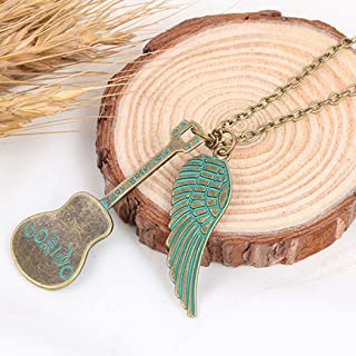 Jovono Bronze Boho Vintage Necklaces Guitar Wing Pendant Necklace Chain for Women and Girls