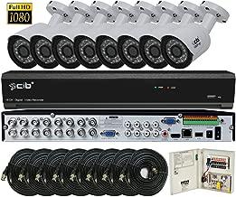 CIB Security H80P16K2T56W-8KIT 16CH 1080P Video Security DVR, 2TB HDD & 8x2.1-MP 1920TVL Night Vision Camera, White