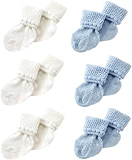 Newborn Baby Boy & Girl Socks by Nurses Choice - Includes 6 Pairs of Cotton Socks