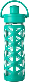 Lifefactory LF522004C4 16-Ounce BPA-Free Glass Water Bottle with Active Flip Cap & Silicone Sleeve, Aquatic Green