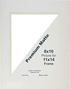 Callen HC1114-11001 Single Hand Cut Photo Mat with Bevel Edge, 11-Inch x 14-Inch, Ivory/White Core