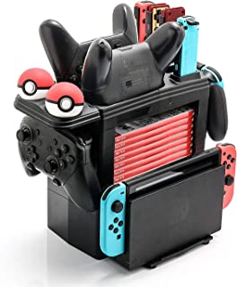 Controller Charger for Nintendo Switch, Charging Dock for Nintendo Switch 2 Joy-Cons, 2 Pro Controllers and 2 Poke Ball Plus Controllers, Storage Rack for Nintendo Switch and Switch Accessories