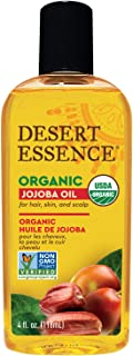 Desert Essence Organic Jojoba Oil - 4 Fl Oz - Moisturizer for Face, Skin, Hair - Cleanses Clogged Pores - May Prevent Scalp Flakiness - Fights Skin Infections - USDA - Suitable for Sensitive Skin