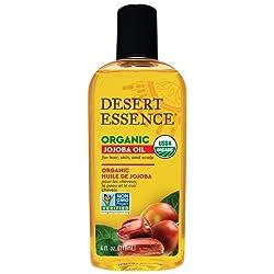 Desert Essence Organic Jojoba Oil - 4 Fl Oz - Moisturizer for Face, Skin, Hair - Cleanses Clogged Po