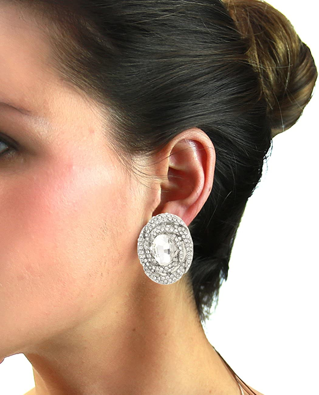 Women's Evening Gala Bridal Prom Wedding Clip On Earrings - Swirly Oval Stone