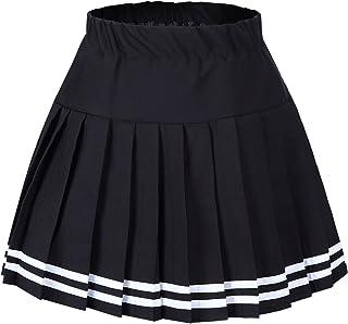 Tremour Women's High Waist Elastic Plaid Pleated Mini Skirt
