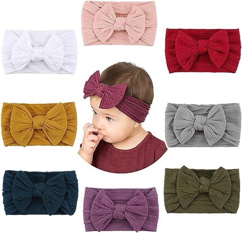 Makone Bébé Bandeaux(8pcs), Super Soft Stretchy Knot Bébé Turban, Multicolore Hairband pour Bébé Nouveau-né Filles, B...